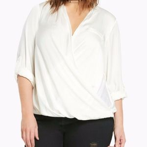 Torrid women's wrap blouse long sleeves ivory 0X